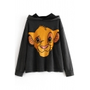 Cute Casual Black Long Sleeve Lion Patterned Plus Size Hoodie for Women