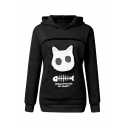 Funny Letter Fishbone Pattern Cat Pouch Pet Carrier Long-Sleeved Hoodie