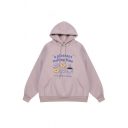 Korean Style A PLEASANT WAITING TIME Letter Print Long Sleeve Drawstring Graphic Hoodie