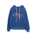 Pretty Girls' Long Sleeve Drawstring Letter ALTIMOR ATLANTICCOAST Contrasted Fluffy Relaxed Fit Hoodie in Blue