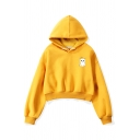 Hot Sale Cute Cartoon Cat Printed Long Sleeve Yellow Thick Cropped Hoodie