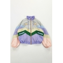 Preppy Girls' Long Sleeve Stand Collar Zip Front Drawstring Cartoon Girl Embroidered Stripe Print Contrasted Shaggy Baggy Crop Jacket in Purple