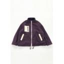 Basic Warm Purple Long Sleeve Stand Collar Zipper Front Drawstring Pocket Decoration Sherpa Fleece Oversize Jacket for Female