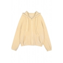 Women Cozy Warm Long Sleeve Hooded Zipper Front Drawstring Pockets Side Fluffy Shearling Liner Boxy Jacket in Apricot