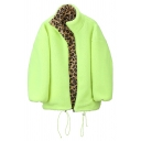 Chic Fashion Female Balloon Sleeve Stand Collar Zip Front Leopard Drawstring Sherpa Reversible Baggy Coat in Green