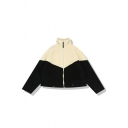 Girls' Cute Long Sleeve Stand Collar Zip Up Contrasted Sherpa Fleece Loose Fit Short Jacket in Black