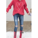Cute Girls' Long Sleeve Crew Neck Heart Pattern Loose Fit Pullover Sweatshirt in Red