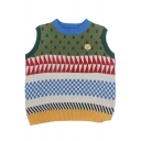 Students Creative Contrast Geometric Pattern Sleeveless Loose Pullover Sweater Vest