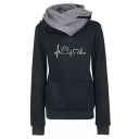 Unique Cool Long Sleeve Cowl Neck ECG Cat Paw Heart Print Kangaroo Pocket Fitted Hoodie for Female