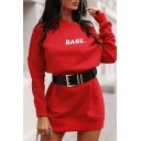 Stylish Ladies' Long Sleeve Round Neck Letter BABE Printed Loose Midi Plain Pullover Sweatshirt
