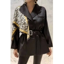 Dressy Fashion Women's Long Sleeve Turn Down Collar Buckle Eyelet Belted Leopard Print Patched Relaxed Wrap Blazer in Black
