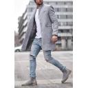 Mens Casual Solid Color Long Sleeve Welt Pocket Tunic Woolen Coat