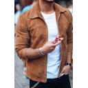 Casual Solid Color Lapel Collar Long Sleeve Zip Placket Slim Fit Suede Jacket for Men