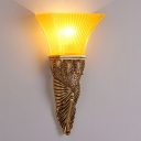 Resin Carved Wall Light Country 1 Light Living Room Gold/Silver/White and Gold Sconce Lamp with Yellow Glass Flared Shade