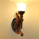 Brown Horse Wall Sconce Lodge Style Resin 1 Head Foyer Wall Light Fixture with Amber Glass Bell Shade