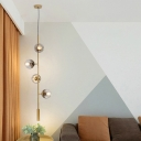 Postmodern Tube Chandelier Lamp Metal 4 Heads Bedroom Hanging Light Kit in Gold with Smoke Gray Glass Shade