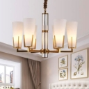 Frosted White Glass Cone Chandelier Lamp Colonial 6/8 Heads Living Room Pendant Light Fixture