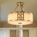 Traditional Drum Ceiling Mount Chandelier 3/4 Bulbs 16
