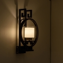 Traditionalism Cylinder Wall Mount Lamp 1 Head Clear Glass Surface Wall Sconce with Metal Backplate in Black
