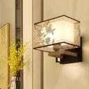 White Rectangular Wall Mount Light Fixture Traditionalist Metal 1 Head Living Room Wall Sconce Lighting