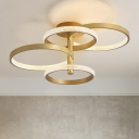 Circle Semi Flush Mount Contemporary Gold Acrylic 37.5