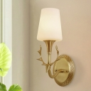 Scrolled Arm Bedroom Sconce Lighting Rustic Milk Glass 1/2 Light Brass Wall Mounted Light Fixture