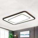 Rectangle Wood Flush Ceiling Light Fixture Modern Style LED Brown Flush Mount Lighting in Warm/White/Natural Light