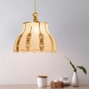 Plastic Gold Hanging Light Flared/Flower/Triangle 1 Light Vintage Down Lighting Pendant for Restaurant