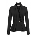 Chic Plain Long Sleeve Surplice Neck Button Front Lace Trim Slim Fit Peplum Blazer for Women