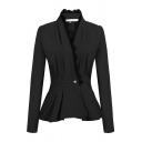 Chic Plain Long Sleeve Surplice Neck Button Front Lace Trim Slim Fit Peplum Blazer for Women