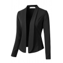 Basic Formal Long Sleeve Shawl Collar Slim Fit Plain Blazer for Women