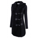 Female Classic Warm Long Sleeve Hooded Sherpa Fitted Plain Midi Duffle Coat