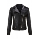 Fashion Plain Long Sleeve Peak Collar Zipper Rivet Decoration Leather Slim Fit Jacket for Girls