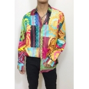 Mens Vintage Tribal Pattern Long Sleeve Button Up Loose Fit Color Block Shirt