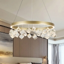 Ring Bedroom Chandelier Pendant Light Cubic Crystal Gold LED Ceiling Light in Warm/White Light