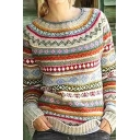 Ethnic Fancy Girls' Long Sleeve Round Neck Floral Printed Purl Knit Loose Fit Pullover Aztec Sweater