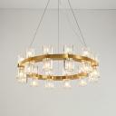 Gold Ring Ceiling Chandelier Postmodern Ridged Crystal 24 Lights Bedroom Hanging Lamp Kit