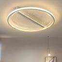 Modern Round Flush Mount Lamp White Acrylic Bedroom Flush Ceiling Light Fixture in Warm/White Light