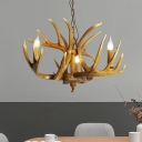 Traditional Antler Hanging Chandelier Resin 3/4/5 Bulbs Ceiling Suspension Lamp in Brown