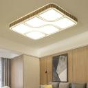 Rectangle Flushmount Lighting Contemporary Acrylic LED Gold Ceiling Flush Mount Lamp for Living Room, White/Warm Light