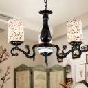 Stained Glass Black Chandelier Pendant Light Cylinder 4/6/7 Bulbs Tiffany Ceiling Hang Fixture