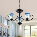 Conical Pendant Chandelier 3/6/8 Heads Handcrafted Art Glass Mediterranean Ceiling Suspension Lamp in Blue, 18
