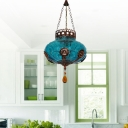 Blue Lantern Suspension Lighting Moroccan Textured Glass 1 Light Restaurant Hanging Pendant Light