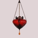 Copper 1 Light Pendant Lighting Moroccan Textured Glass Tapered Hanging Lamp for Restaurant