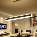 Linear Acrylic Hanging Light Kit Modern White 23.5