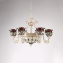 Stained Glass Bowl-Shaped Chandelier Lighting Baroque 6 Bulbs Cream Ceiling Pendant Light