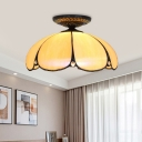 Scalloped Close to Ceiling Light Single Bulb White Glass Tiffany-Style Flush Mount Lighting