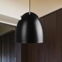 Domed Down Lighting Modernism Metal 1 Bulb Hanging Ceiling Light in Black for Restaurant