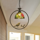 1 Light Domed Shaped Drop Pendant Mediterranean Pink/Yellow Cut Glass Down Lighting with Bird Deco
