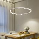 Metal Ring Chandelier Lighting Simple Modern LED Indoor Hanging Light for Living Room